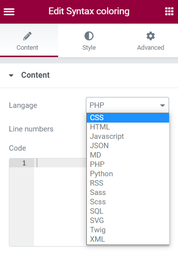 Select the appropriate language for the syntax highlighter