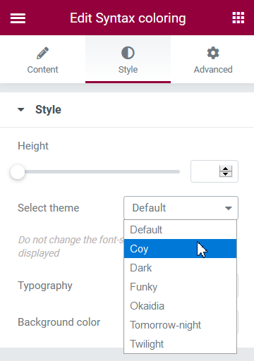 Select the appropriate theme for the syntax highlighter