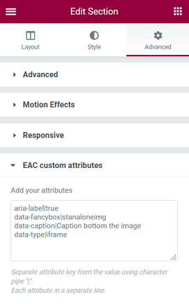 Custom attributes Elementor