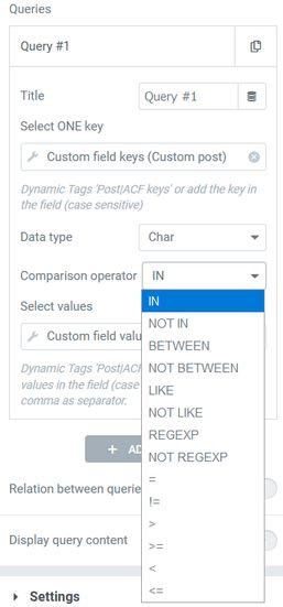 Meta query Comparison operator