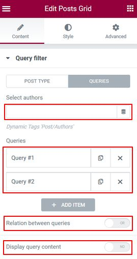 Query filter Post Tab Query
