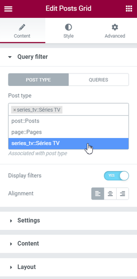 Query filter Post type