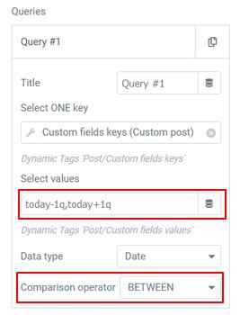 Query filter date between