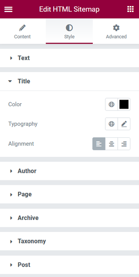 Sitemap Styling