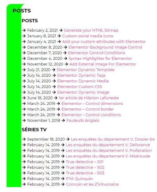 Sitemap posts