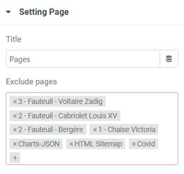 Sitemap settings pages