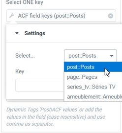 Query filter Select key ACF