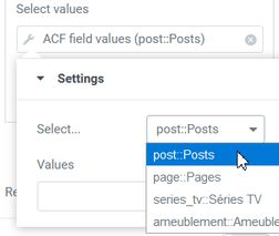 Query filter Select value ACF