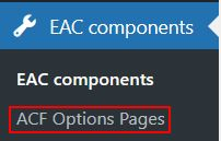 Components settings options page